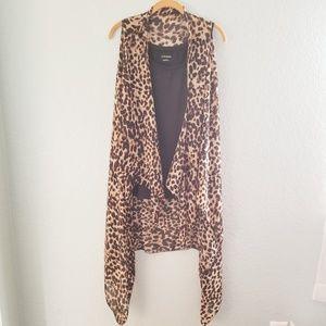 Leopard Print Sleeveless Long Kimono Vest